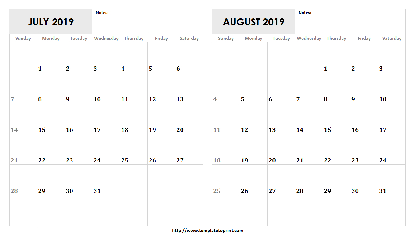 Blank July August 2019 Calendar Template | 2 Month Calendar Design Calendar 2019 July August