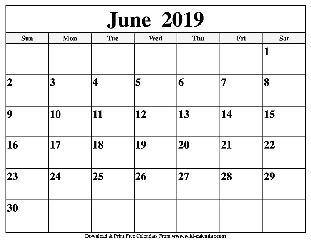 Blank June 2019 Calendar Printable Calendar Of 2019 June