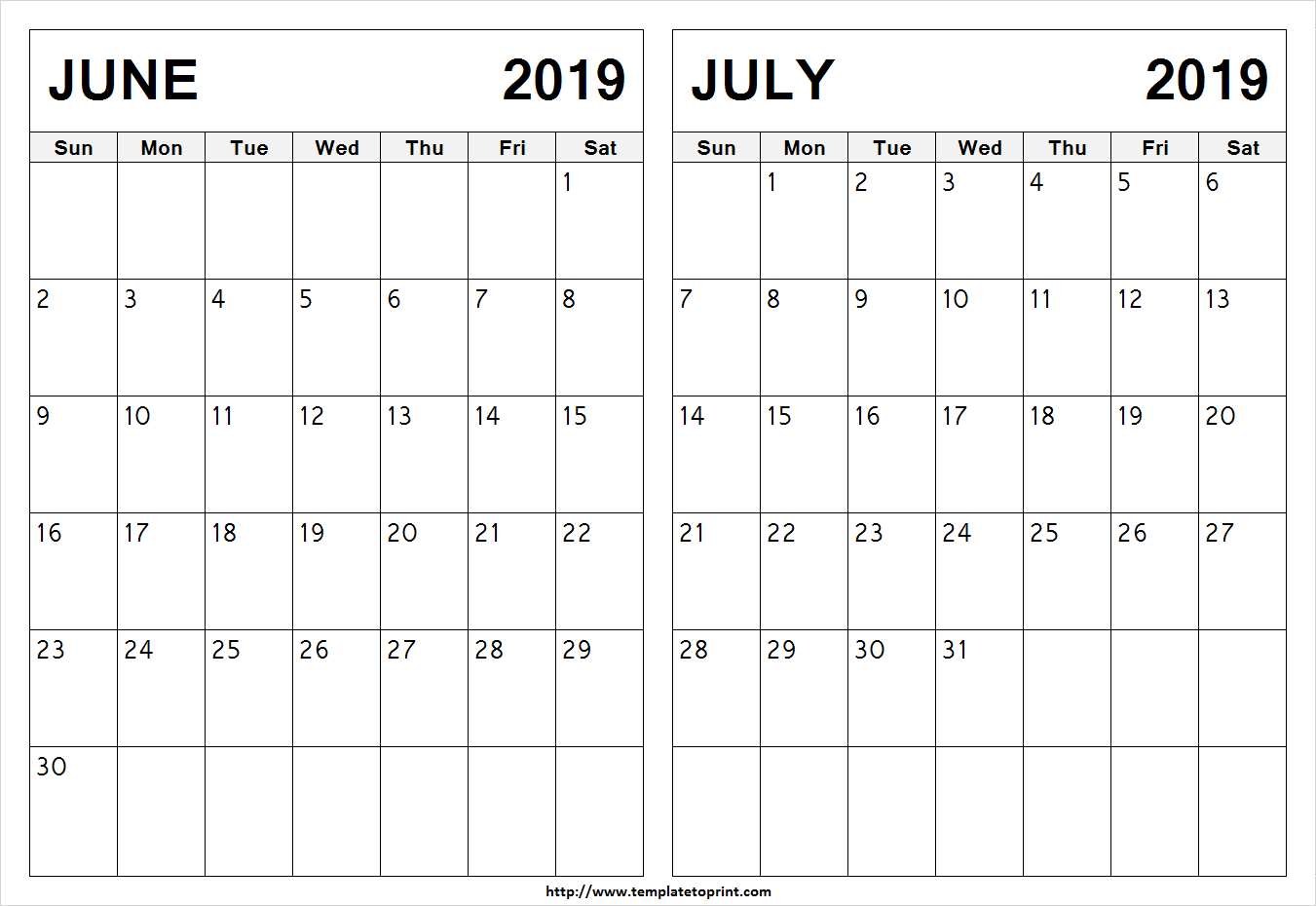Blank June July 2019 Calendar Template | Latest 2 Month Calendar Design Calendar 2019 June July