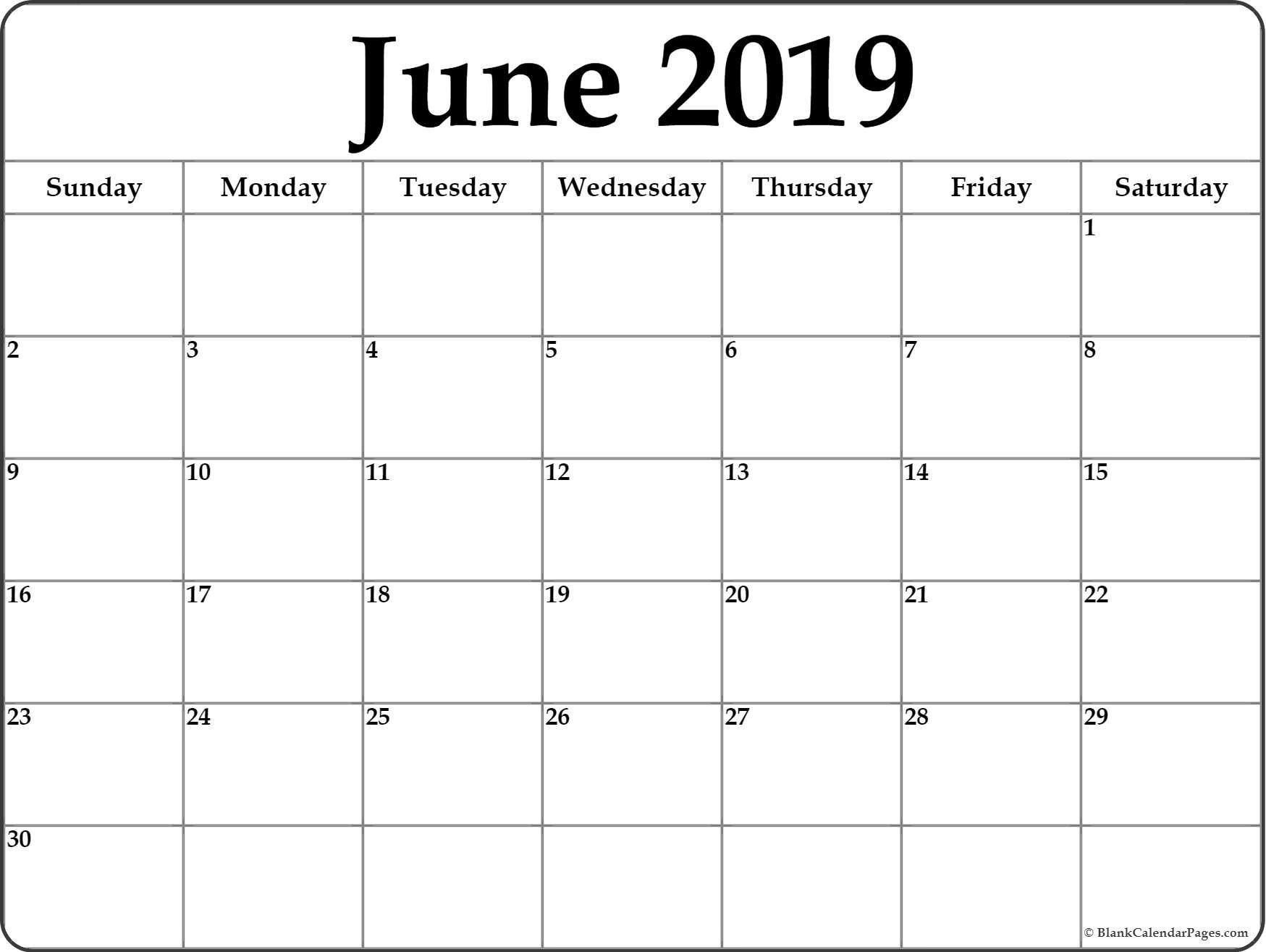 Blank Monthly Calendar June 2019 - Icard.cmi-C Calendar 2019 Blank