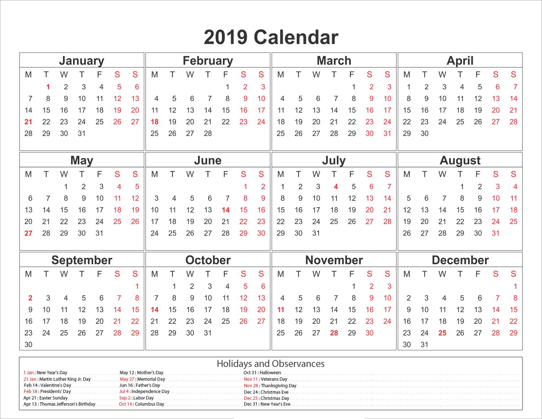 Blank Printable Calendar 2019 With Holidays | Printableshelter Calendar 2019 With Holidays Printable