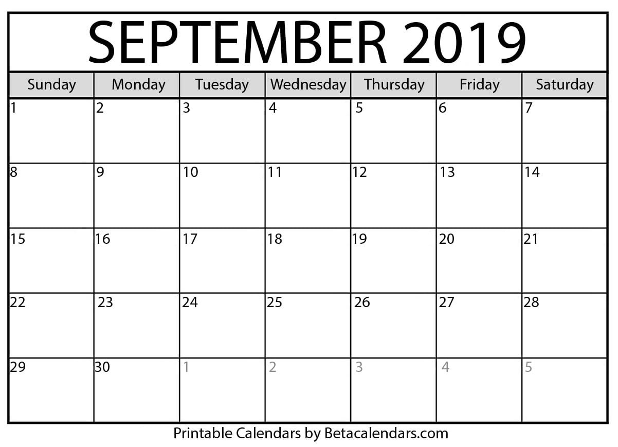 Blank September 2019 Calendar Printable - Beta Calendars 6 Nations 2019 Calendar Download