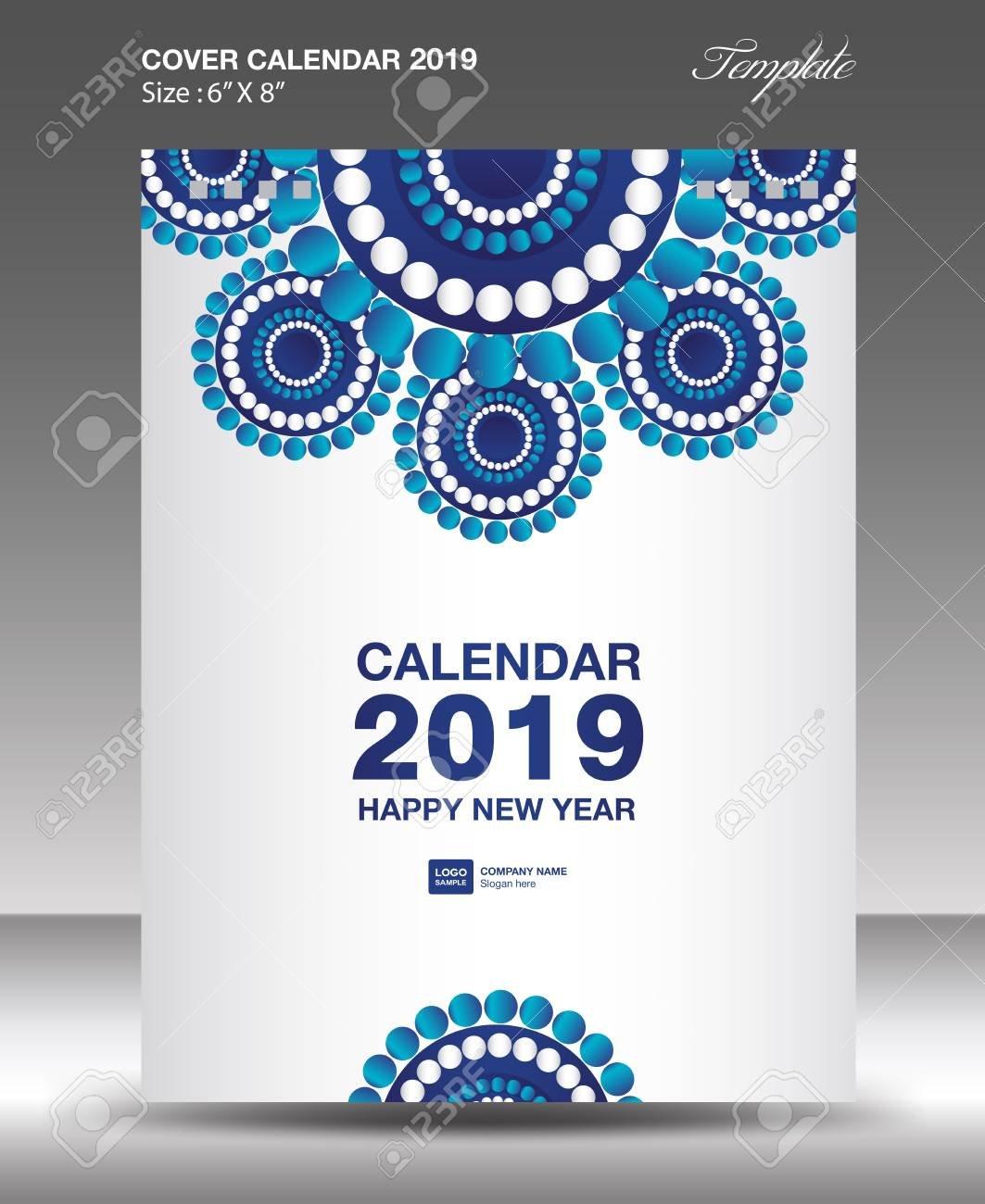 Blue Cover Desk Calendar 2019 Design, Flyer Template, Ads, Booklet Calendar 2019 Cover