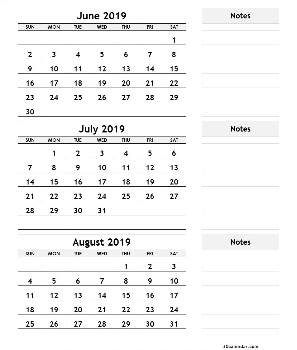 Bravo June July August 3 Month Calendar 2019 Printable * Calendar 3 Month Calendar 2019