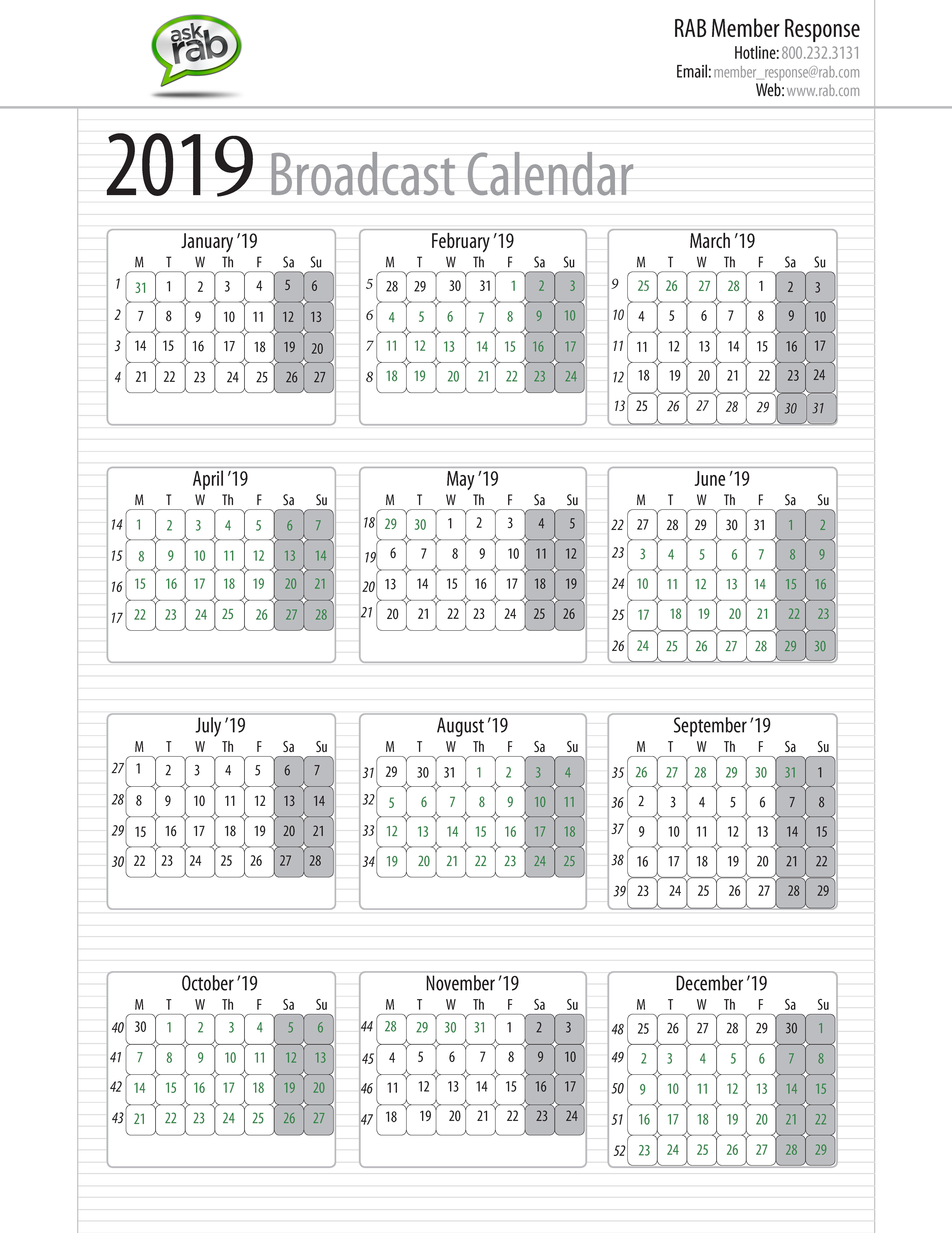 Broadcast Calendars | Rab M State Calendar 2019