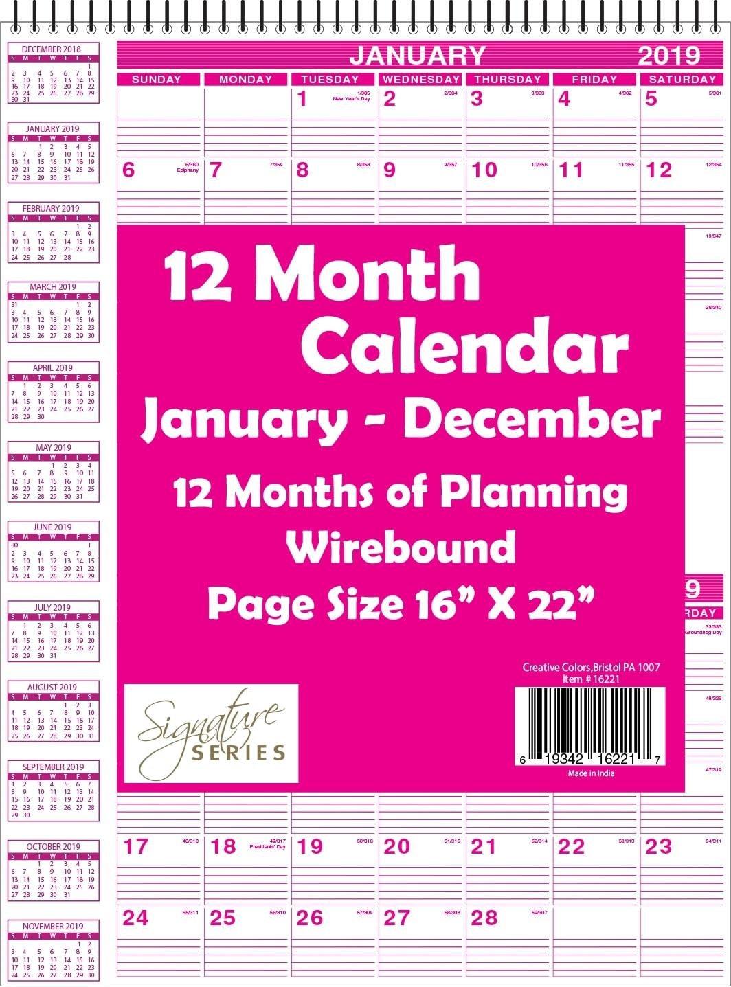 "Bulk Carton 16"" X 22"" Top Wired Wall Calendar 2019- Minimum Order 1 Calendar 2019 Bulk"