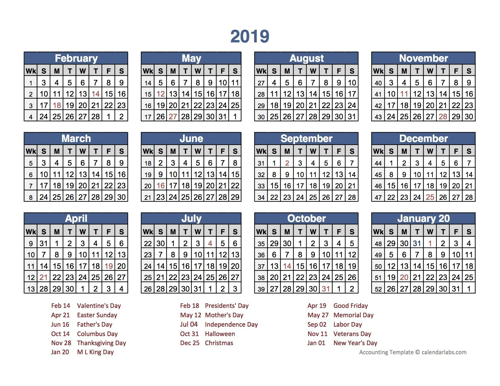 Business Calendars 2019 To Download Or Print | Americanwomanmag 2019 Calendar 4-4-5