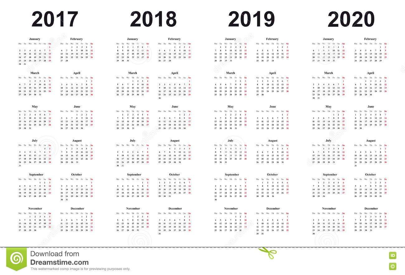 Calendar 2017, 2018, 2019, 2020, Простой Дизайн, Воскресенья Отметил R 2019 Calendar