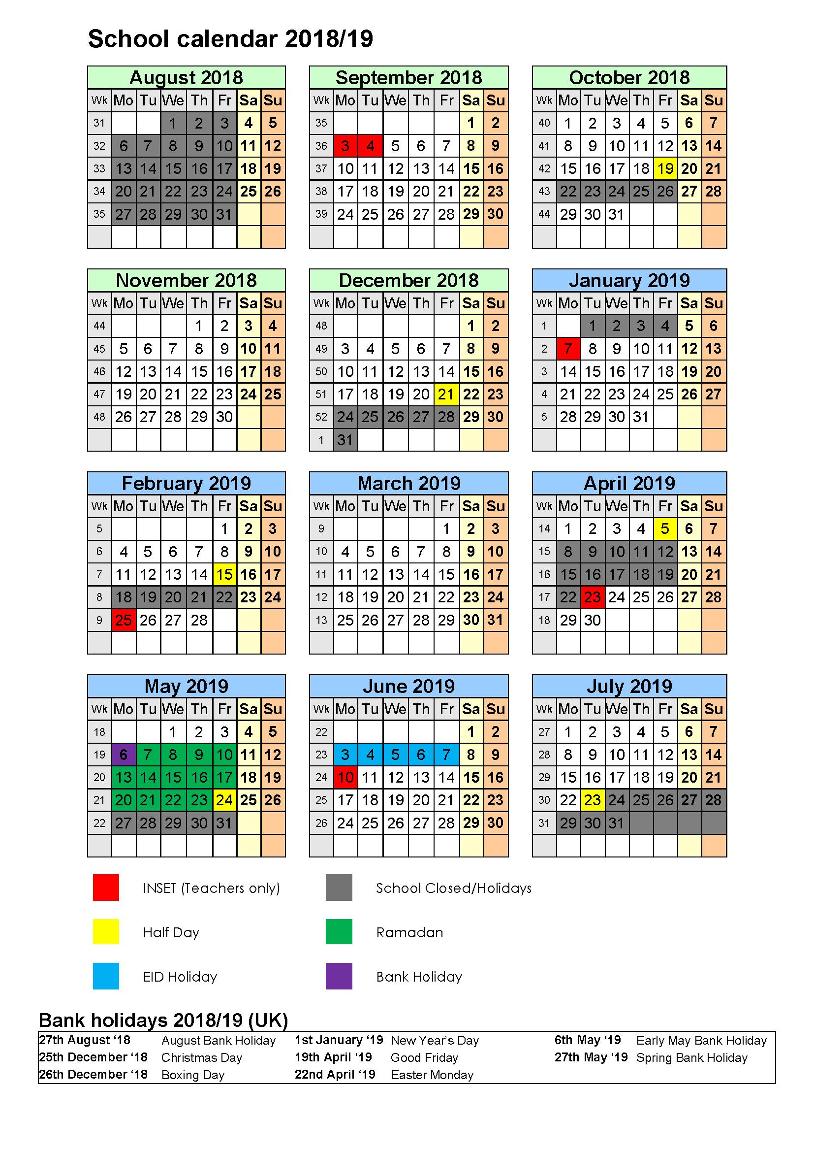 Calendar 2018-2019- Al Mizan Primary School D&d Calendar 2019