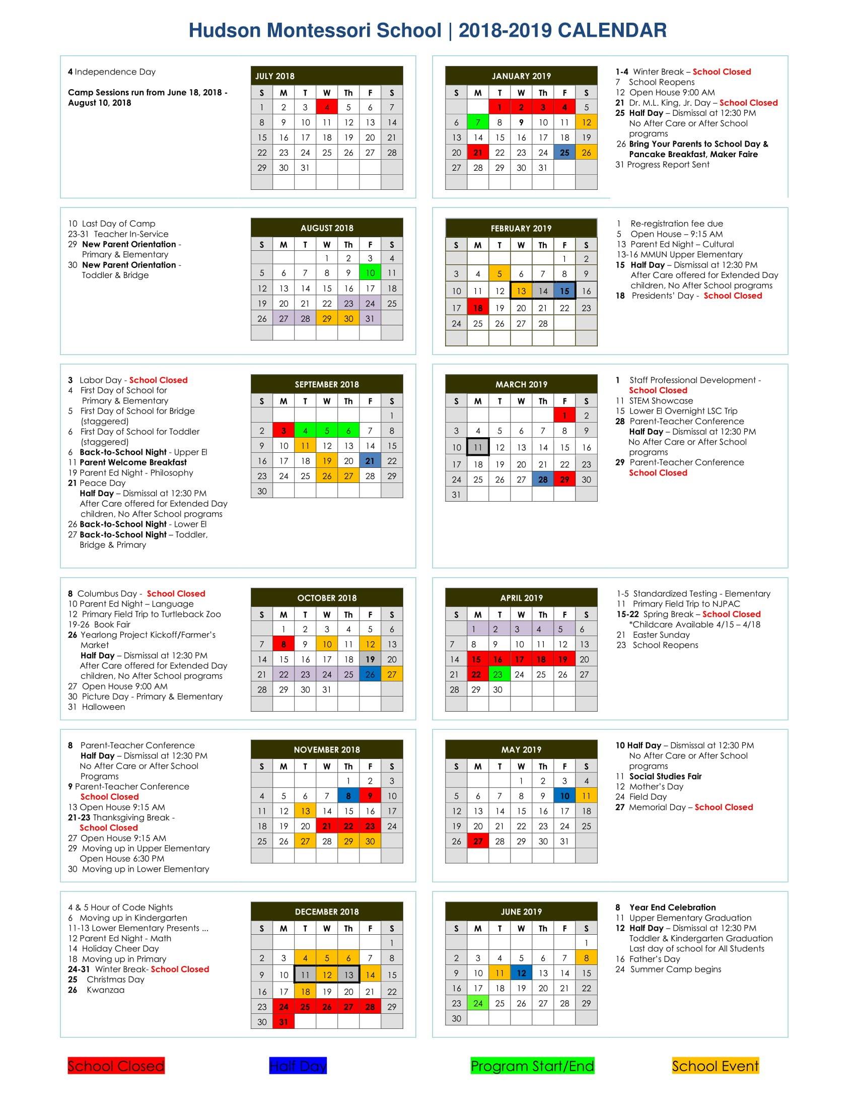 Calendar 2018-2019 | M Day Calendar 2019