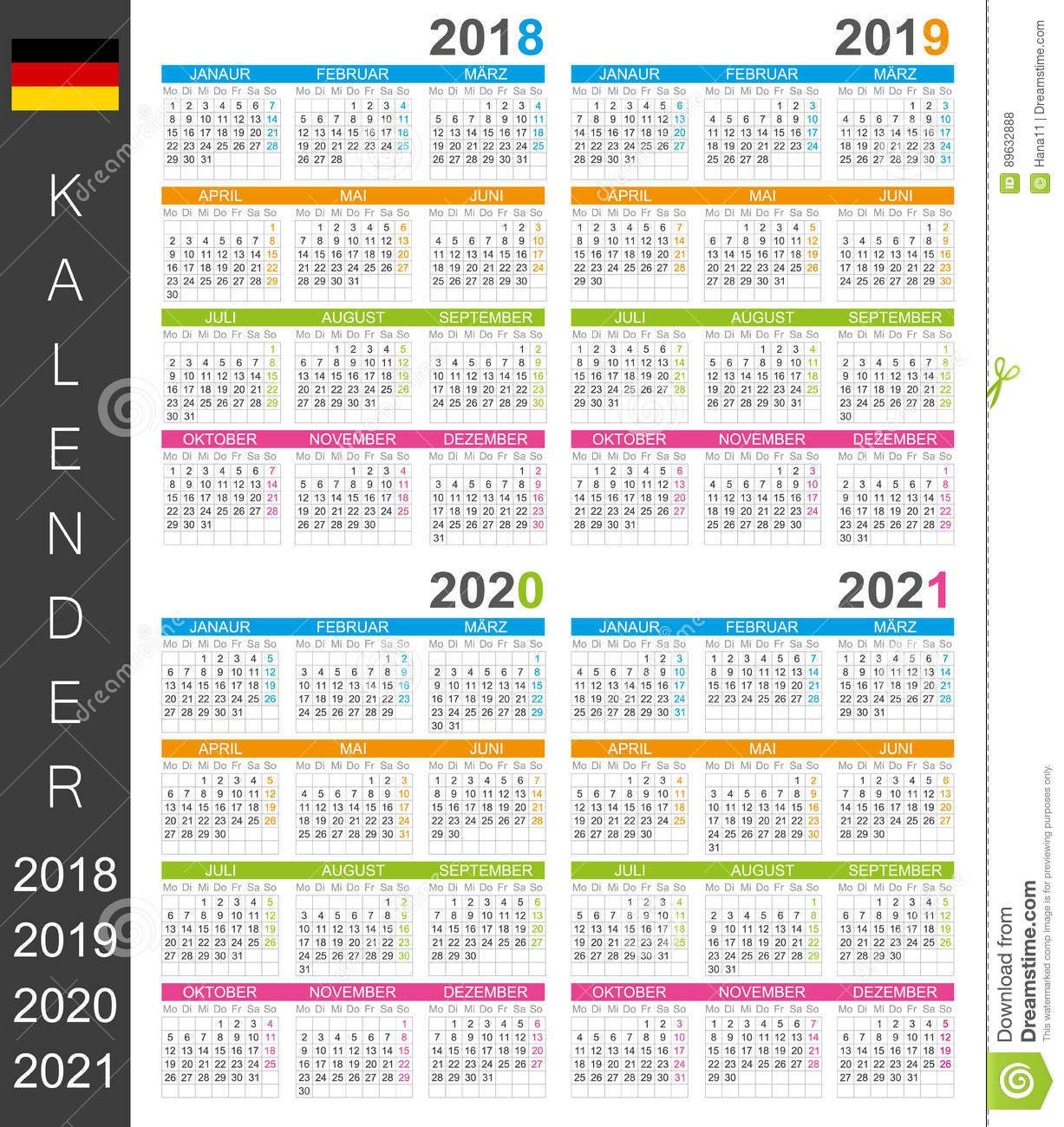 Calendar 2018-2021 Stock Illustration. Illustration Of Personal Calendar 2019 Germany Week Numbers