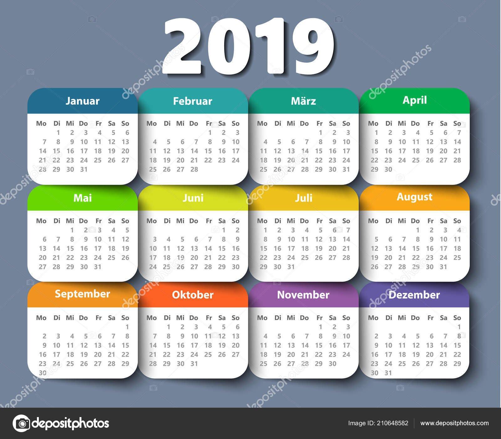 Calendar 2018 Year German. Week Starting On Monday — Stock Vector Calendar 2019 Germany Week Numbers
