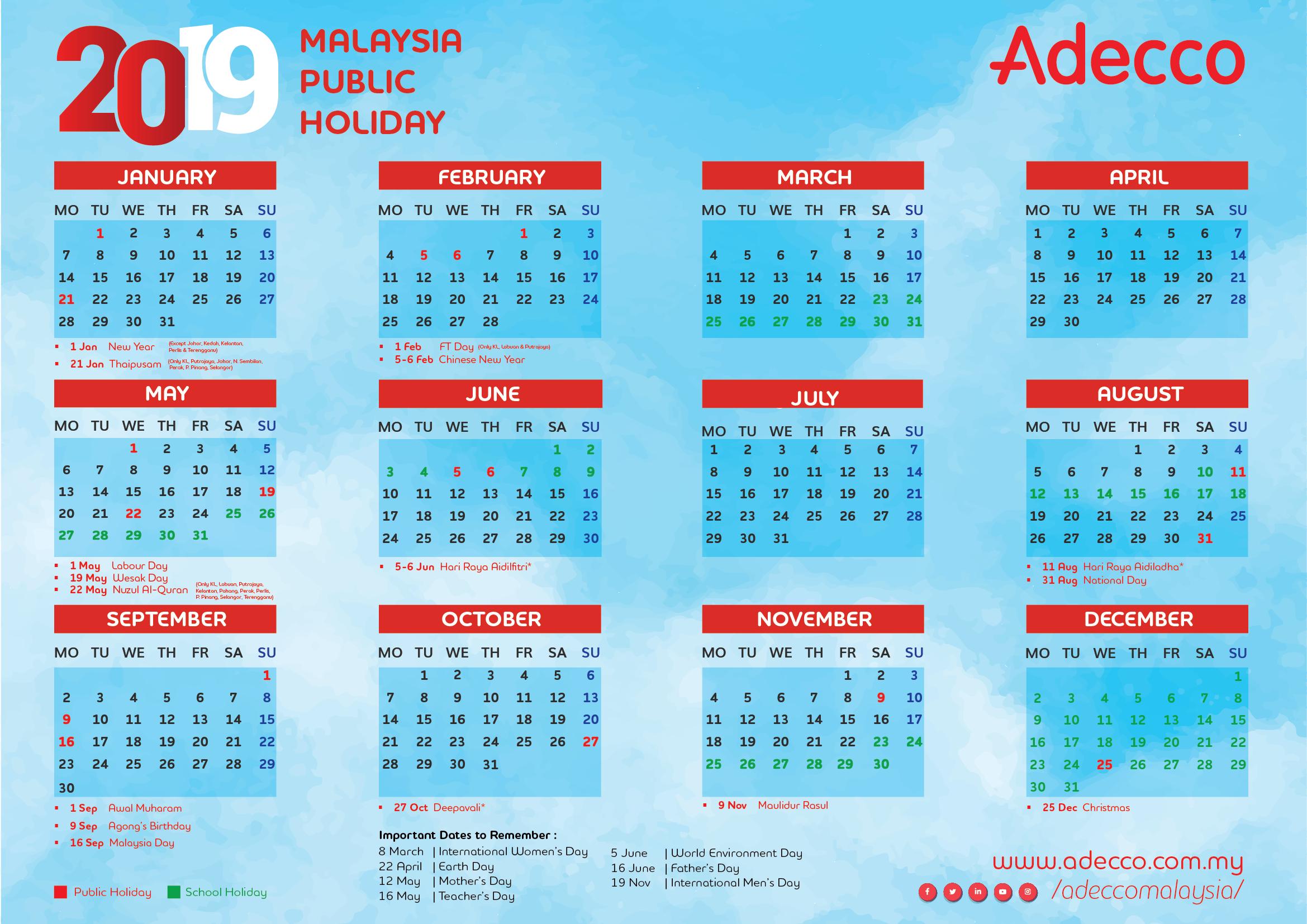 Calendar, 2019, Adecco Calendar 2019 Malaysia