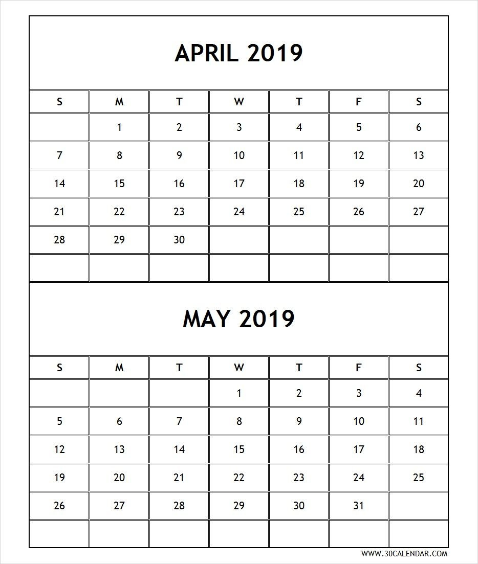 Calendar 2019 April May Printable Free | April 2019 Calendar Calendar 2019 April May