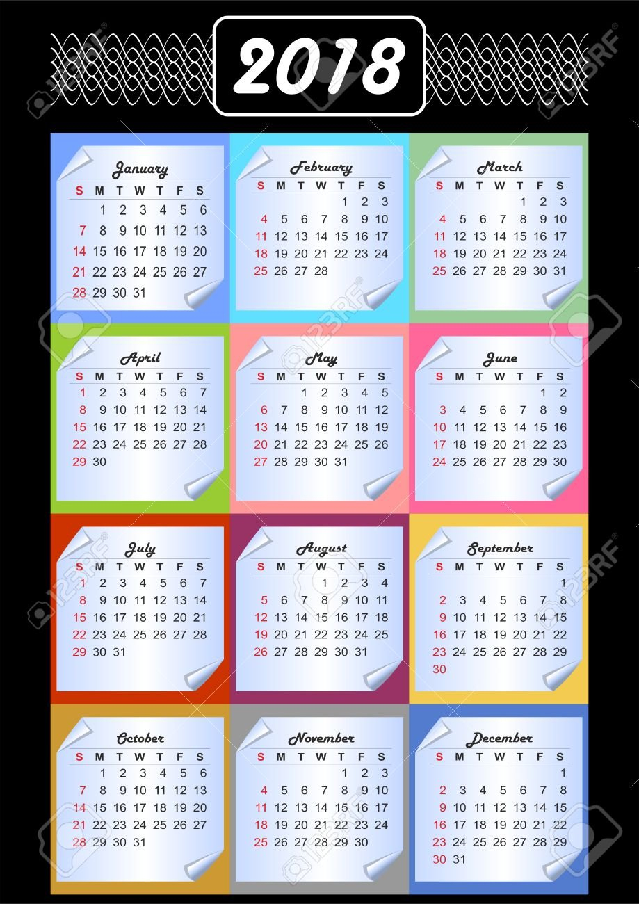 Calendar 2019, Calendarium On Memory Blocks, Multicolored Background Calendar 2019 Background