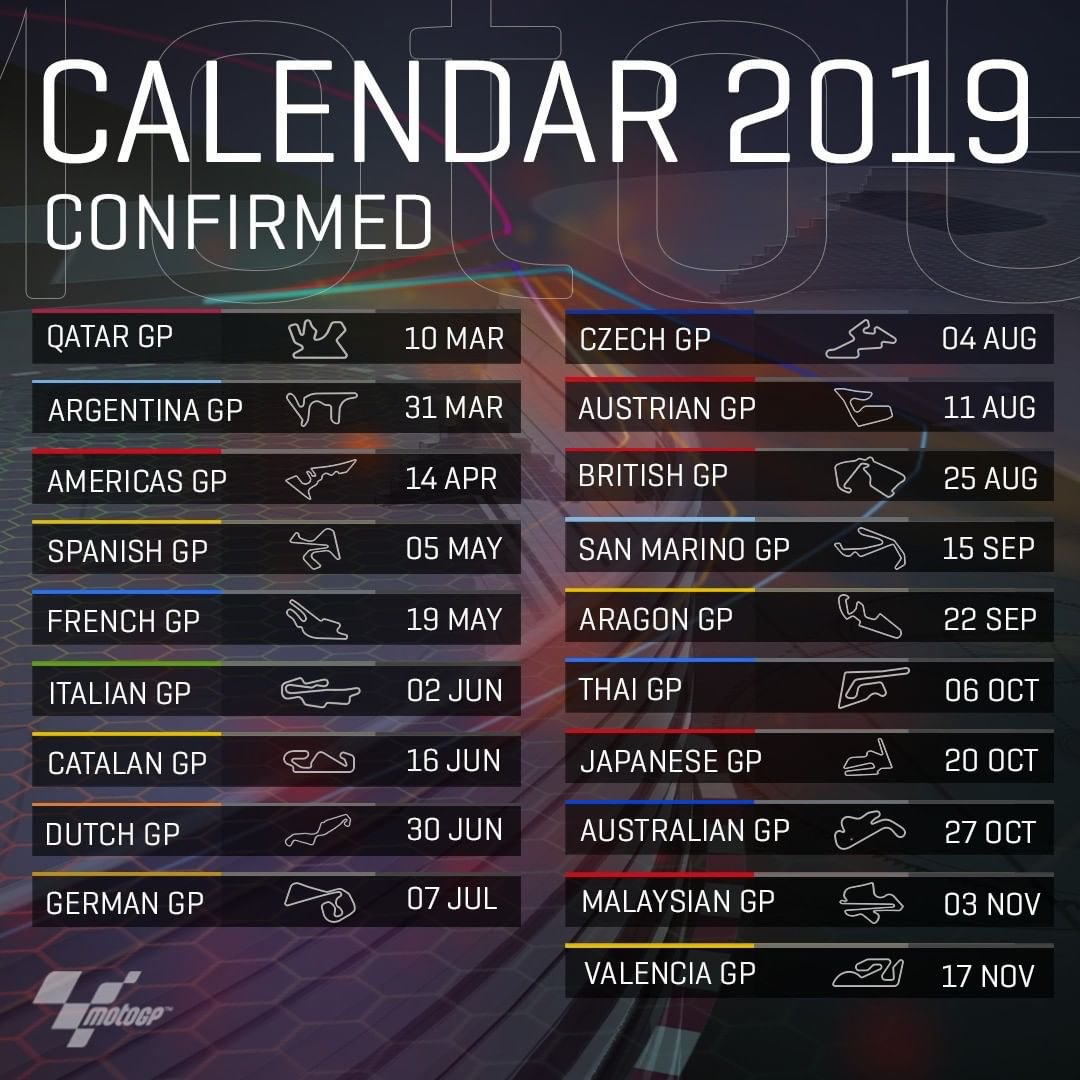 Calendar 2019 🤩 : Motogp Formula 1 Calendar 2019 Ical