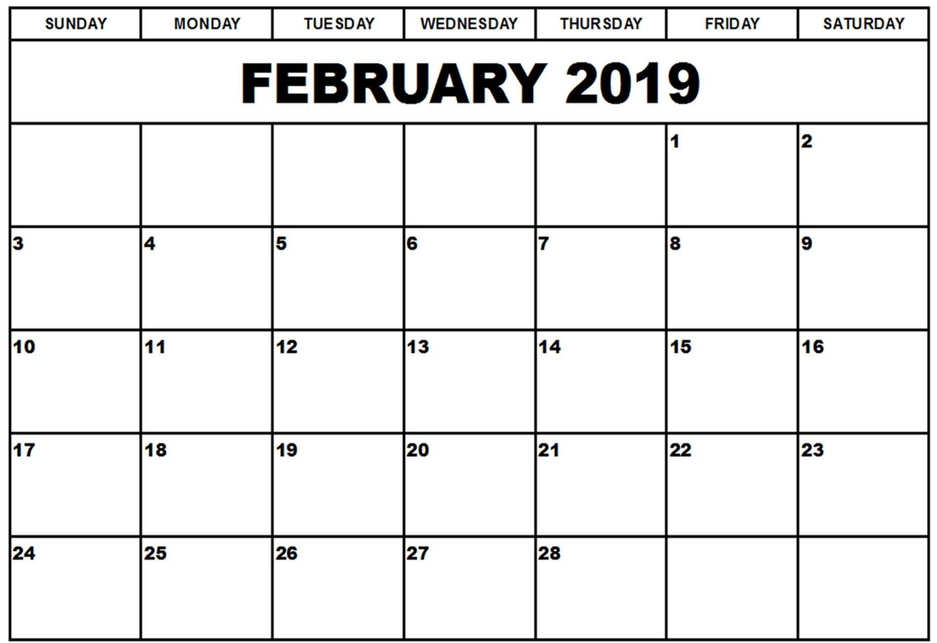 Calendar 2019 February Month - Printable Calendar Templates Calendar Of 2019 February