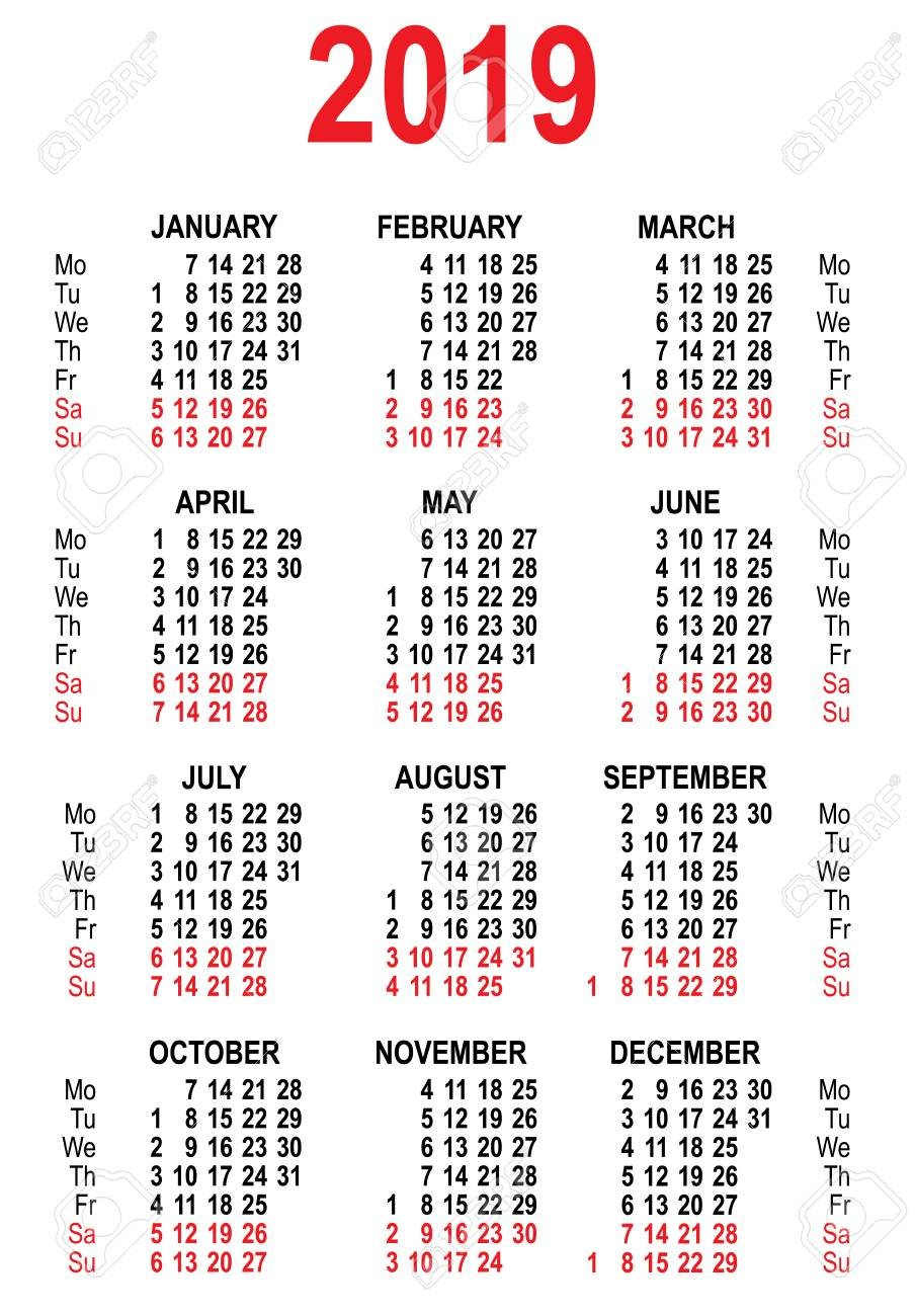 Calendar 2019 Grid Template. Isolated On White Vector Illustration Calendar 2019 Grid