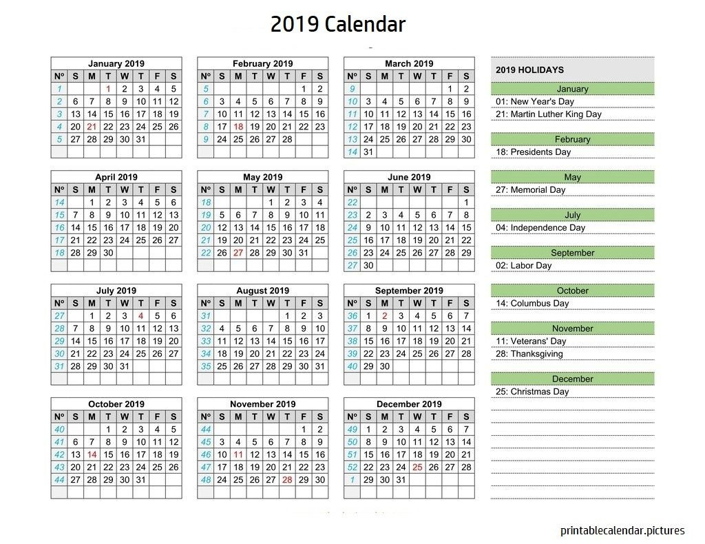 Calendar 2019 Holidays | 2019 Calendar Holidays | Calendar 2019 Calendar Of 2019 With Holidays