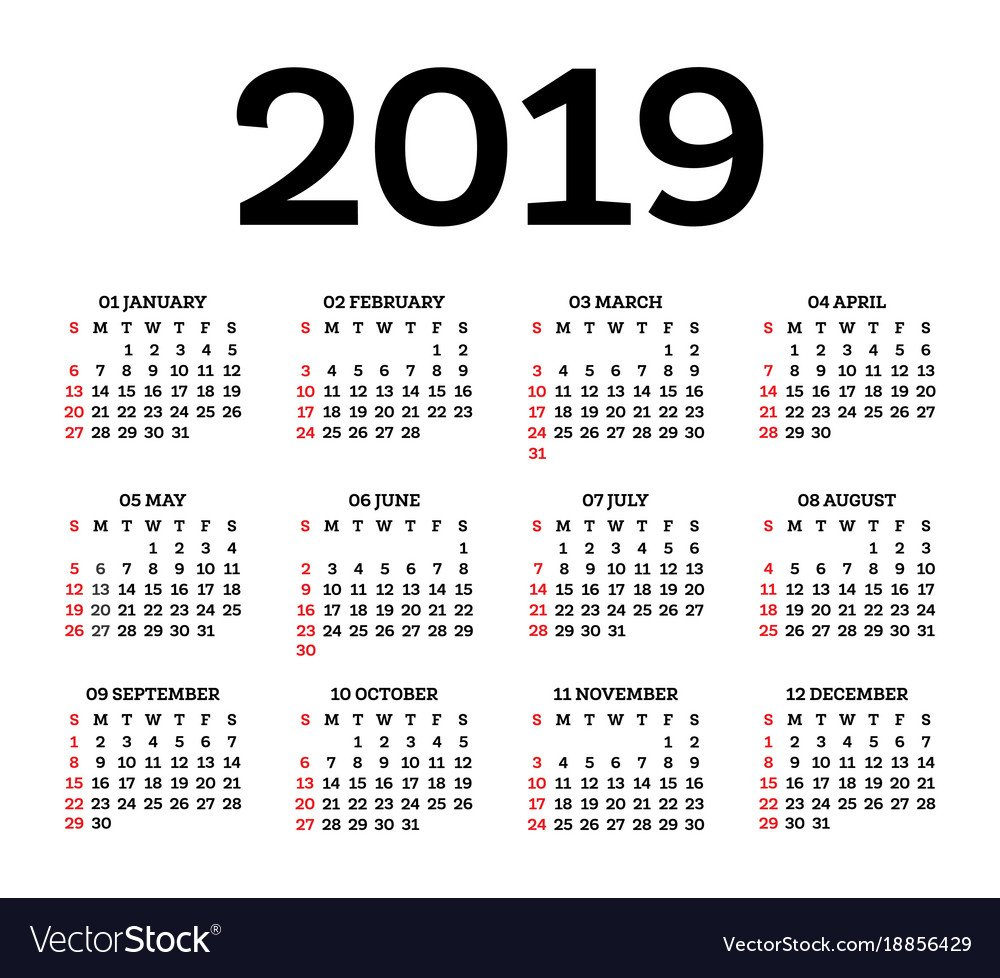 Calendar 2019 Isolated On White Background Week Calendar 2019 Vector Image