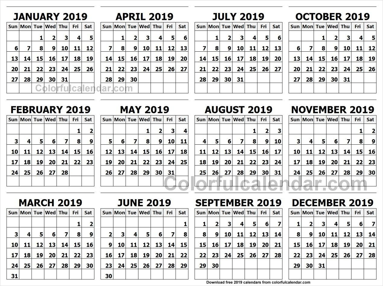 Calendar 2019 Landscape In Colour | 2019 Yearly Calendars | Calendar Calendar 2019 Landscape
