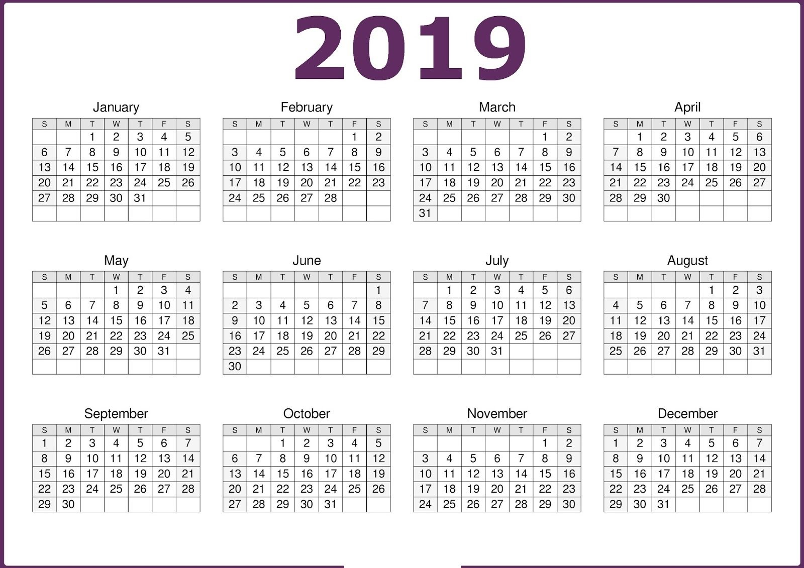 Calendar 2019 Pdf (1) | Download 2019 Calendar Printable With Calendar 2019 Pdf Free Download