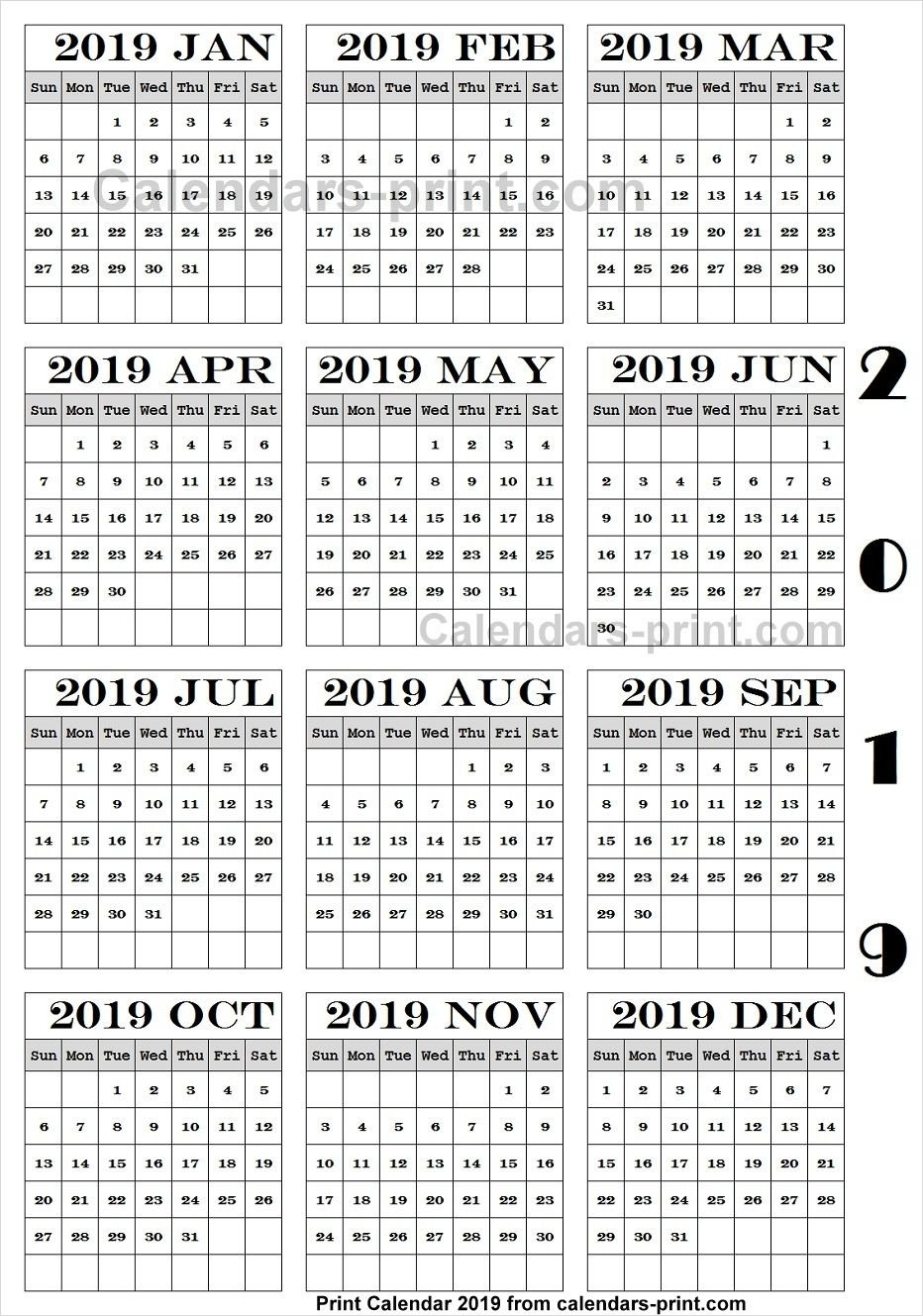 Calendar 2019 Pdf Download | 2019 Yearly Calendar | Print Calendar Calendar 2019 Romana