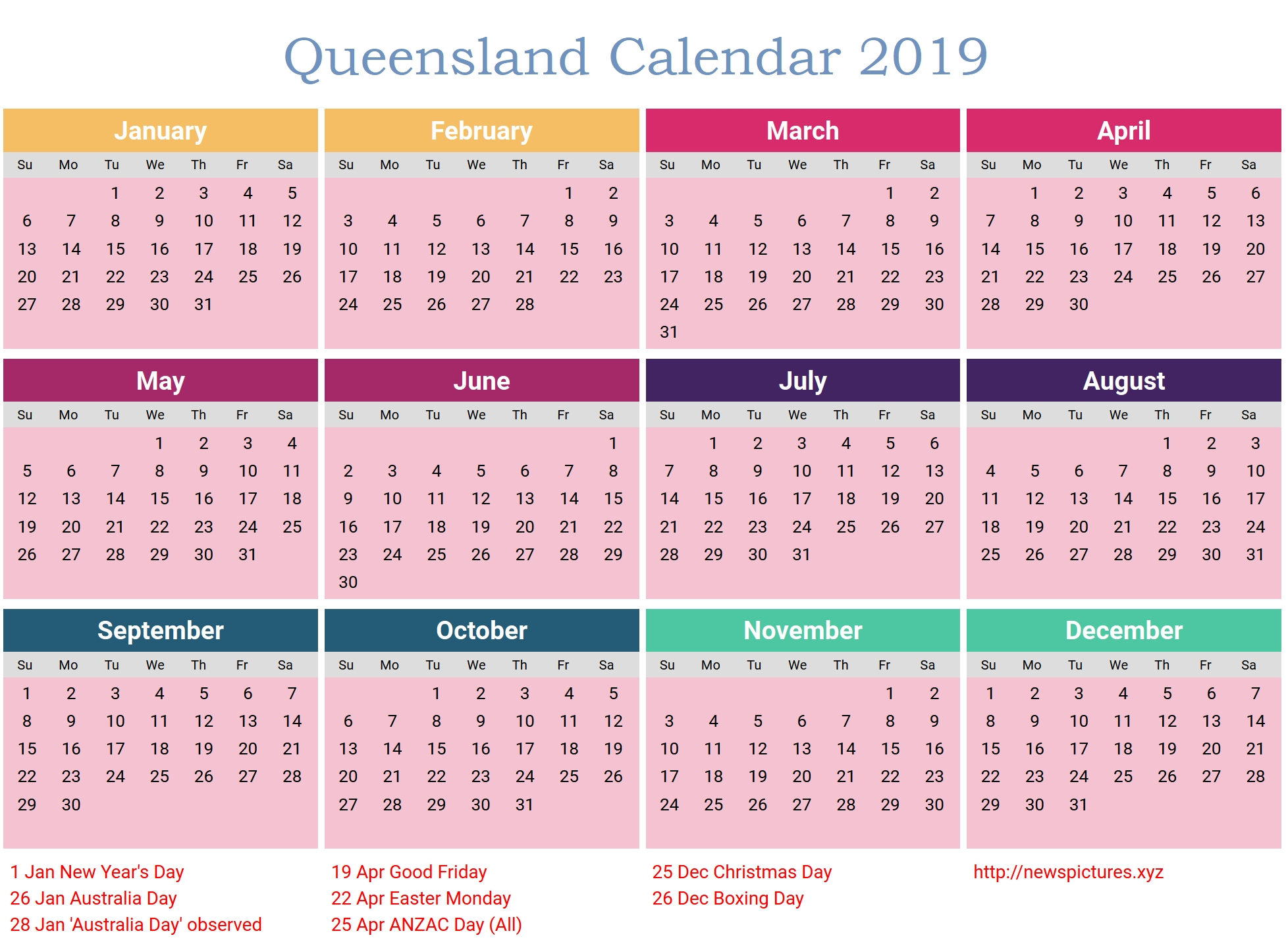 Calendar 2019 Printable With Holidays Qld • Printable Blank Calendar 2019 Calendar Qld Holidays