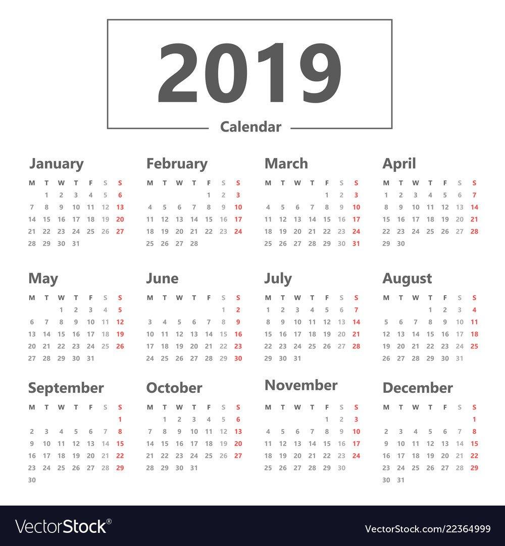 Calendar 2019 Simple Style Week Starts Monday Vector Image Week 6 Calendar 2019