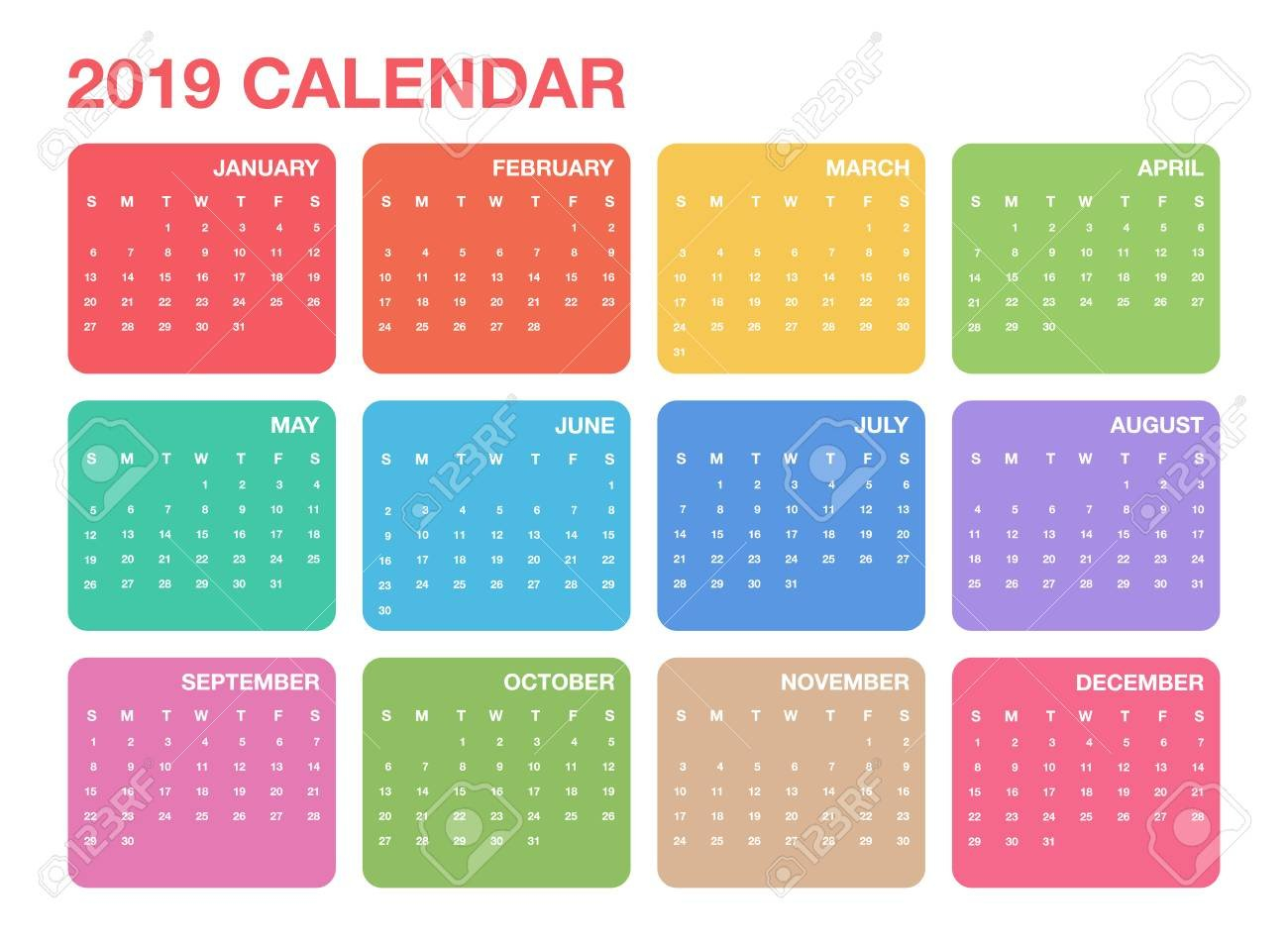 Calendar 2019 Template. Colorful Calendar Design For Planner Design A Calendar 2019