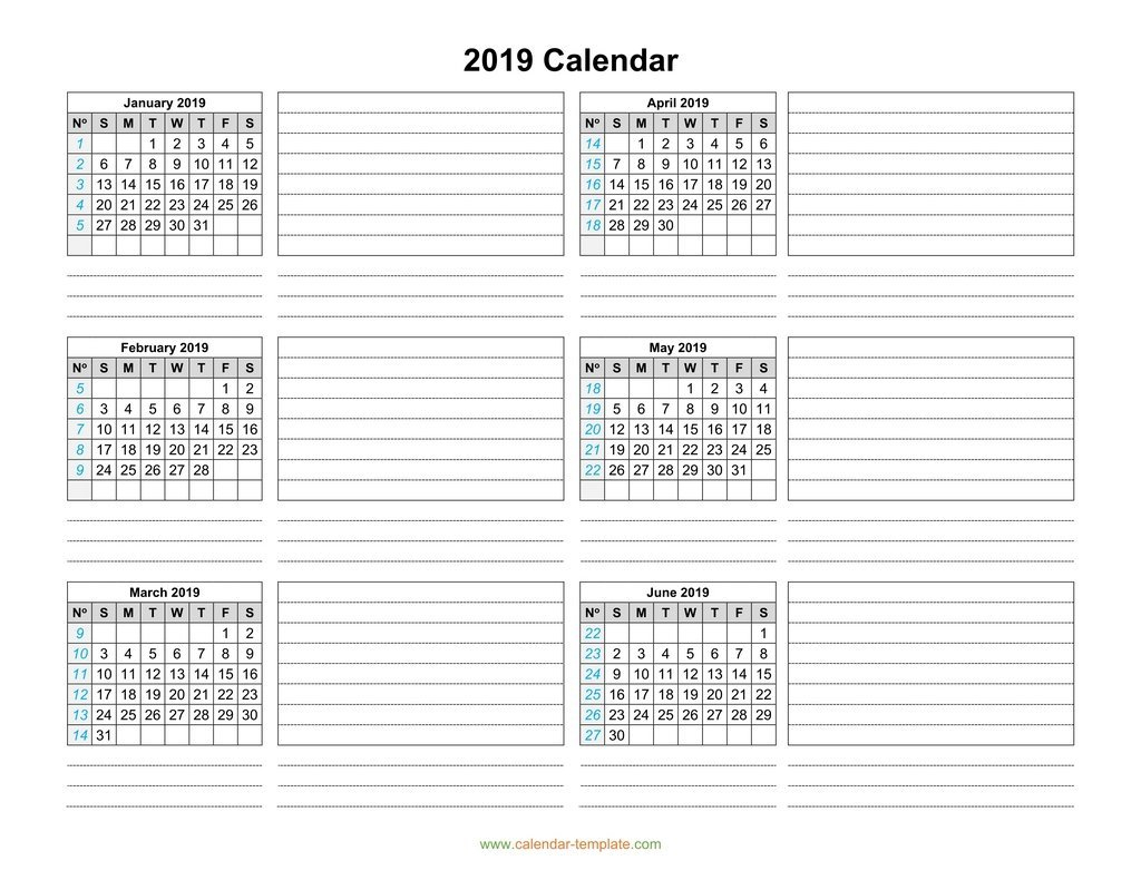 Calendar 2019 Template Six Months Per Page Printable Calendar 2019 6 Months
