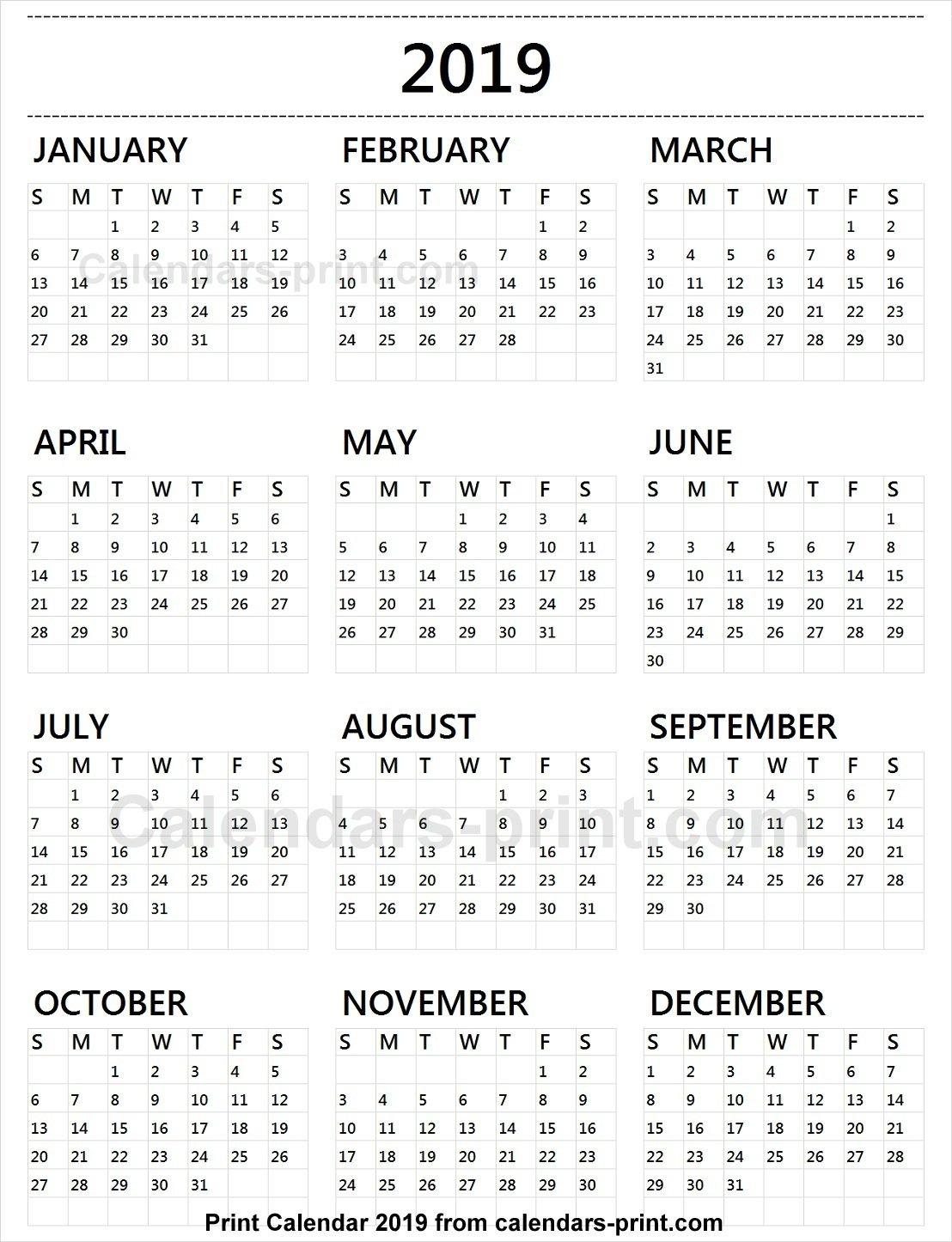 Calendar 2019 Tumblr To Print Free | Download Blank Pdf Template Calendar 2019 Pdf Free Download