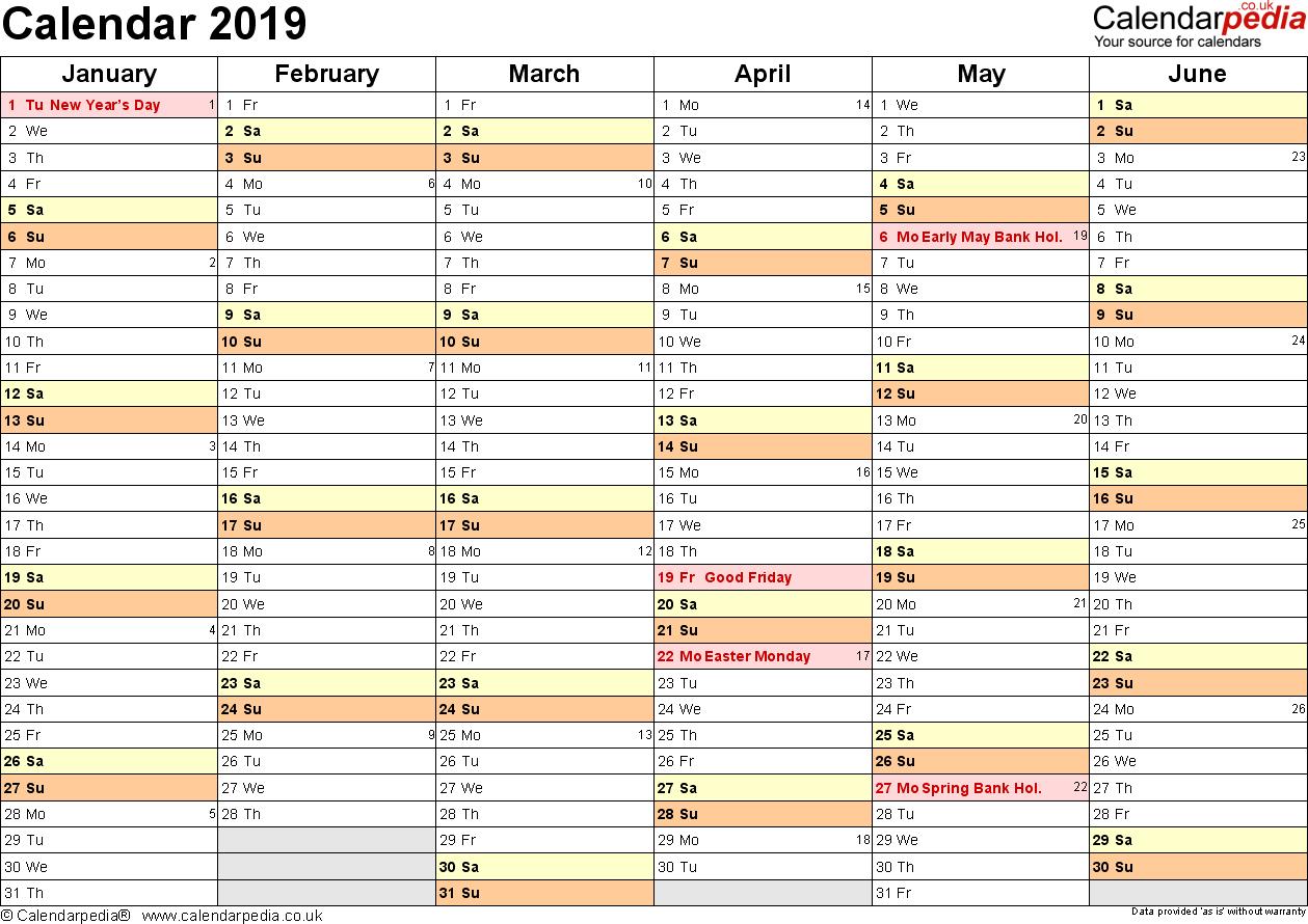 Calendar 2019 (Uk) - 16 Free Printable Pdf Templates Calendar 2019 Planner