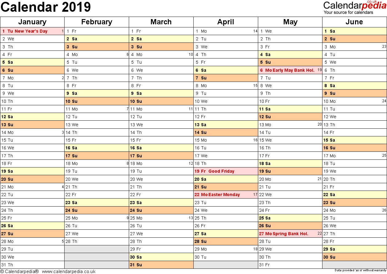 Calendar 2019 (Uk) - 16 Free Printable Word Templates Calendar 2019 Write In