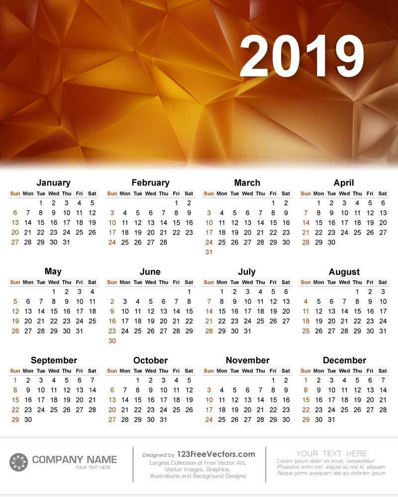 Calendar 2019 Vector | 2019 Calendar | Calendar 2019 Vector Calendar 2019 Vector Image