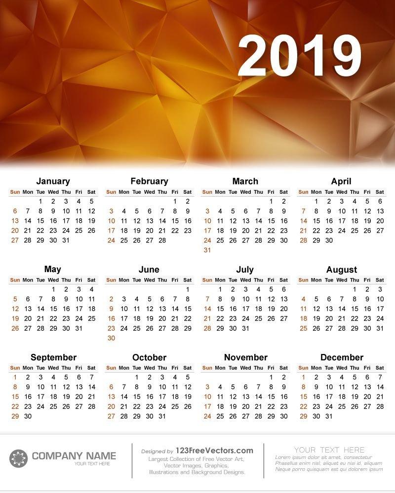 Calendar 2019 Vector | 2019 Calendar | Calendar 2019 Vector Calendar 2019 Vector