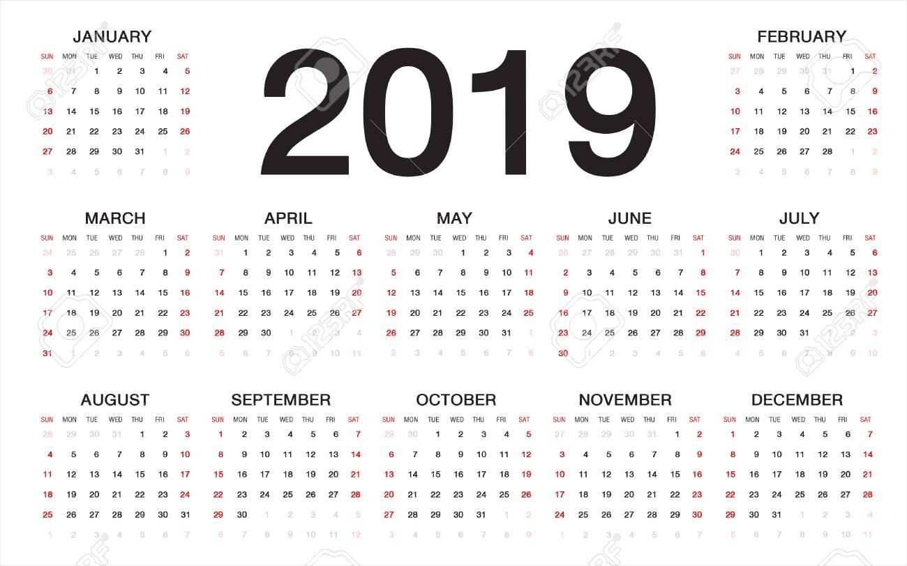 Calendar 2019, Week Starts From Sunday, Business Template Royalty Calendar 2019 Week 1