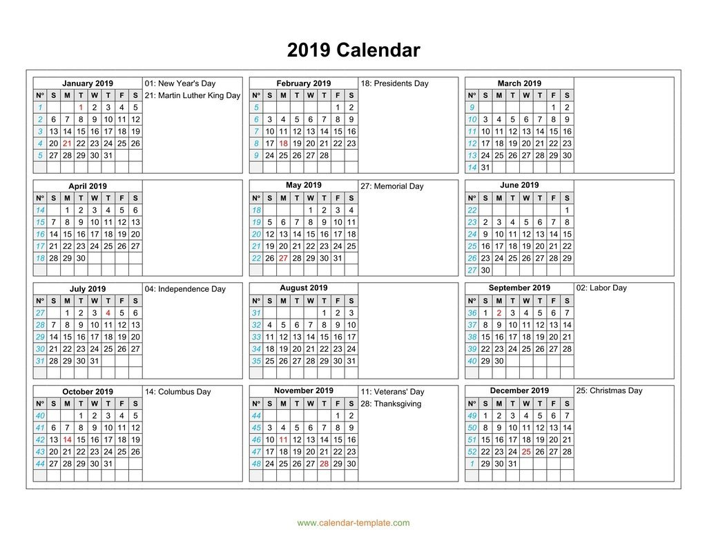 Calendar 2019 With Months In Columns 5 Column Calendar 2019