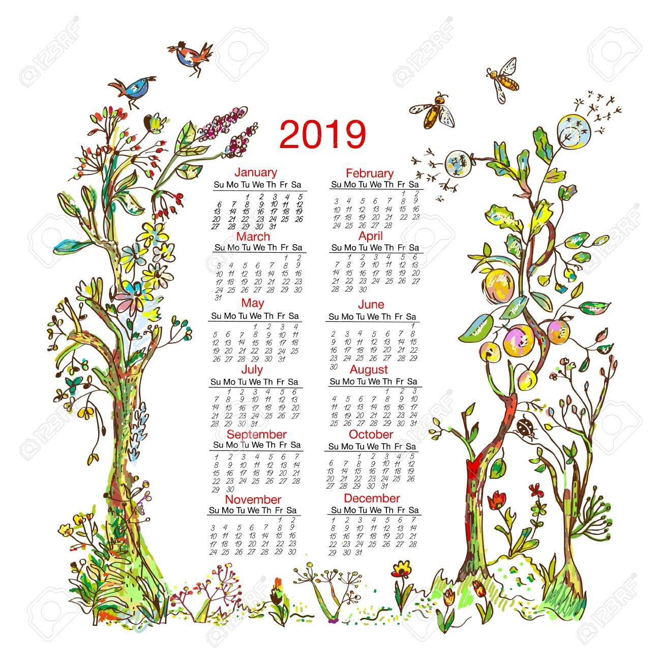 Calendar 2019 With Nature Frame Elements Royalty Free Cliparts Calendar 2019 Nature