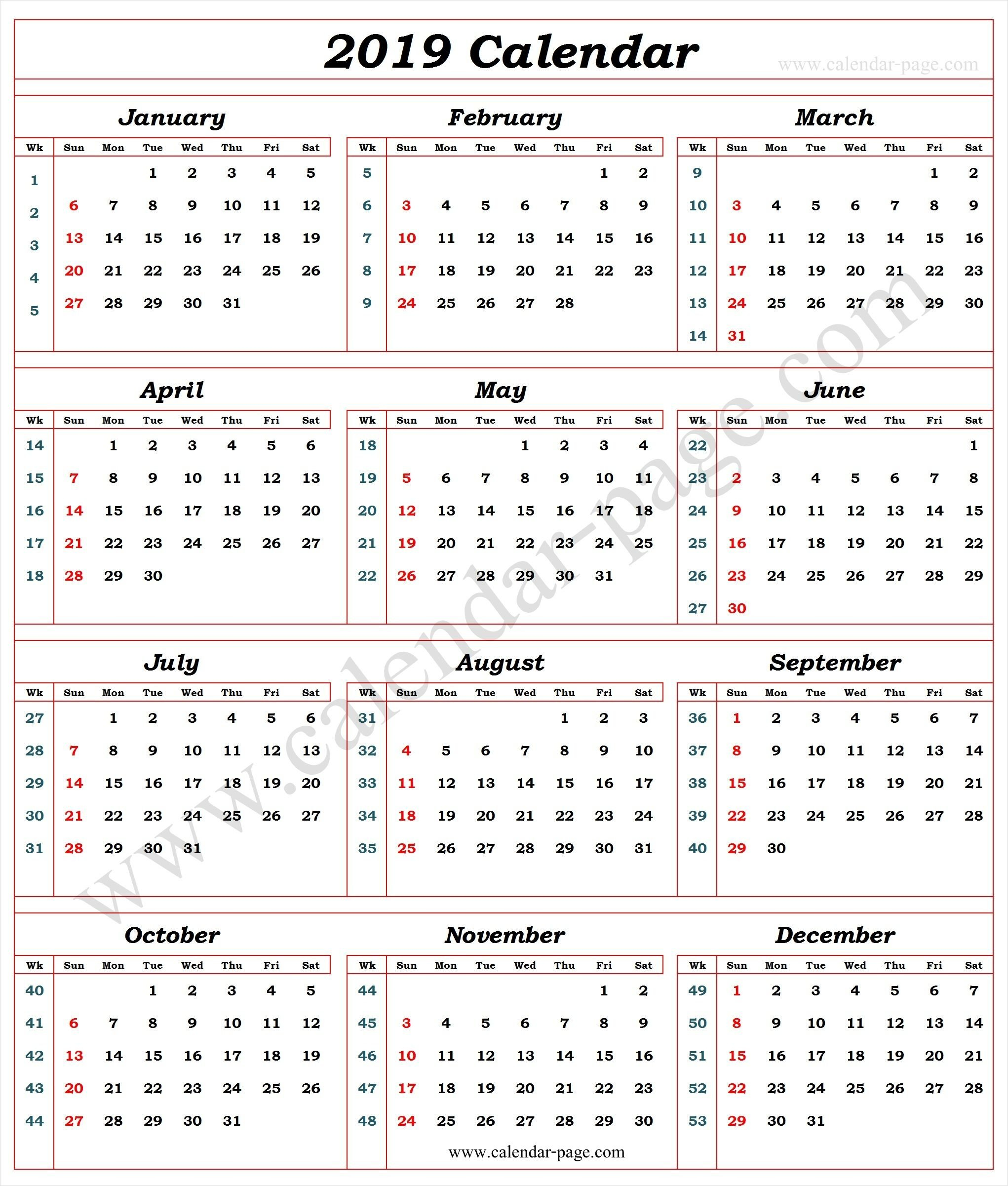 Calendar 2019 With Week Numbers | 2019 Calendar Template | Calendar Calendar Week 11 2019