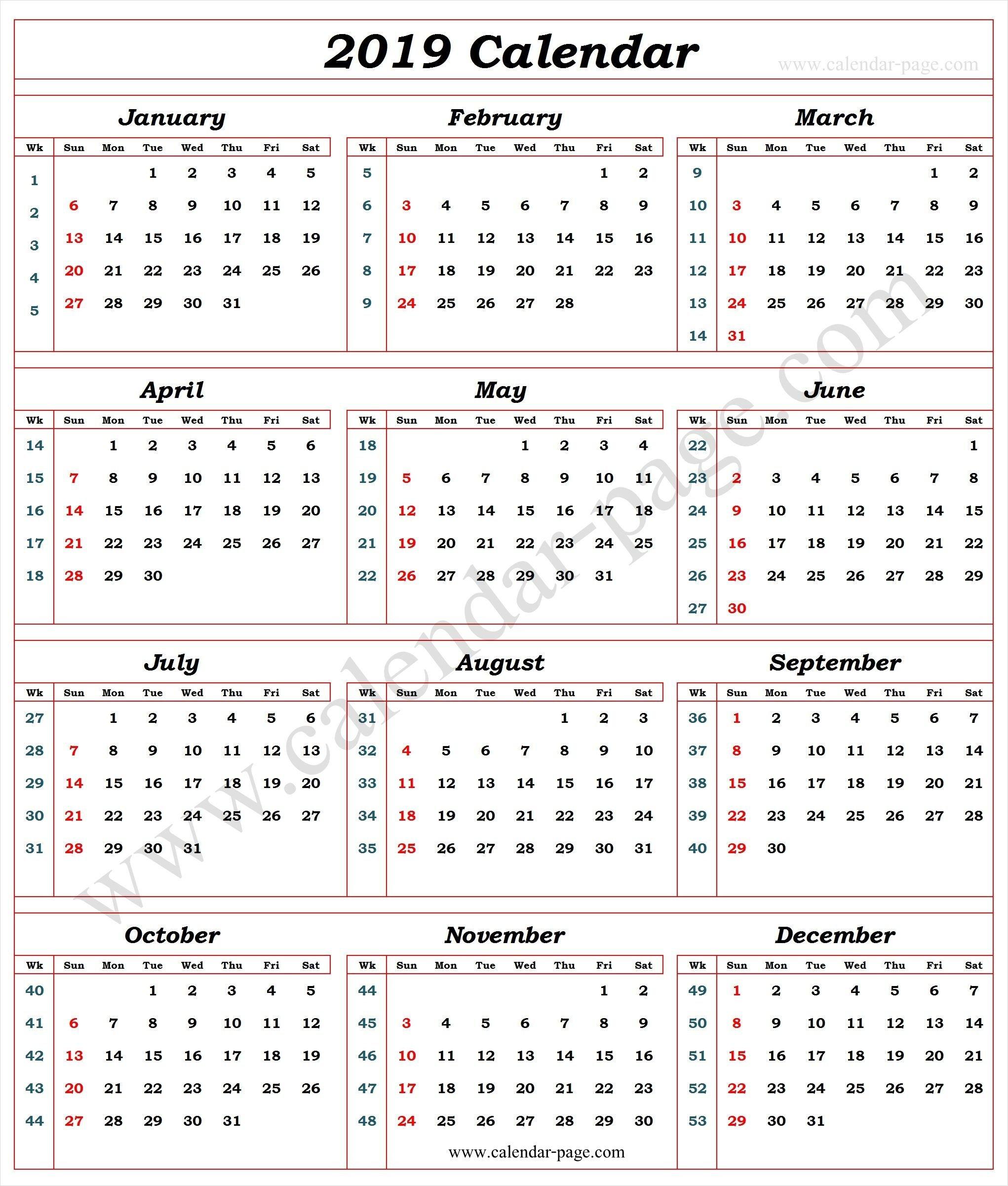 Calendar 2019 With Week Numbers | 2019 Calendar Template | Calendar Week 6 Calendar 2019