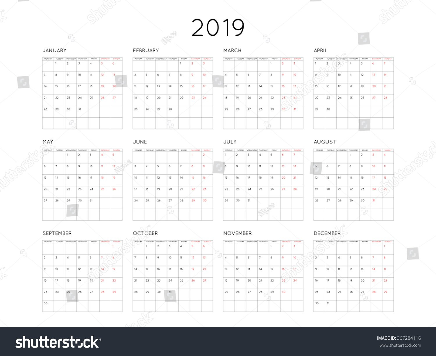 Calendar 2019 Year Simple Style Grid Stock Vector (Royalty Free Calendar 2019 Grid