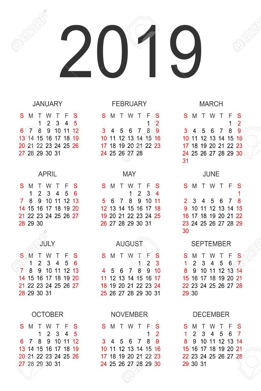 Calendar 2019 Year Vector Design Template. Simple 2019 Year Calendar Calendar 2019 Full Year