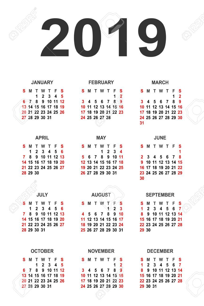 Calendar 2019 Year Vector Design Template. Simple 2019 Year Calendar Calendar 2019 Vector Image