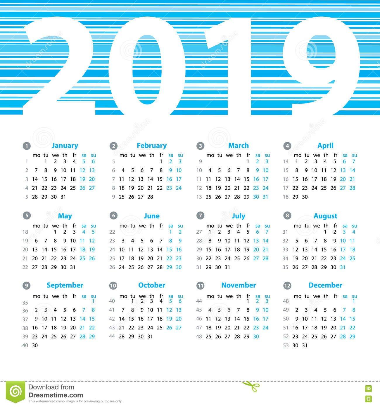 Calendar 2019 Year Vector Design Template Stock Vector Calendar Week 32 2019