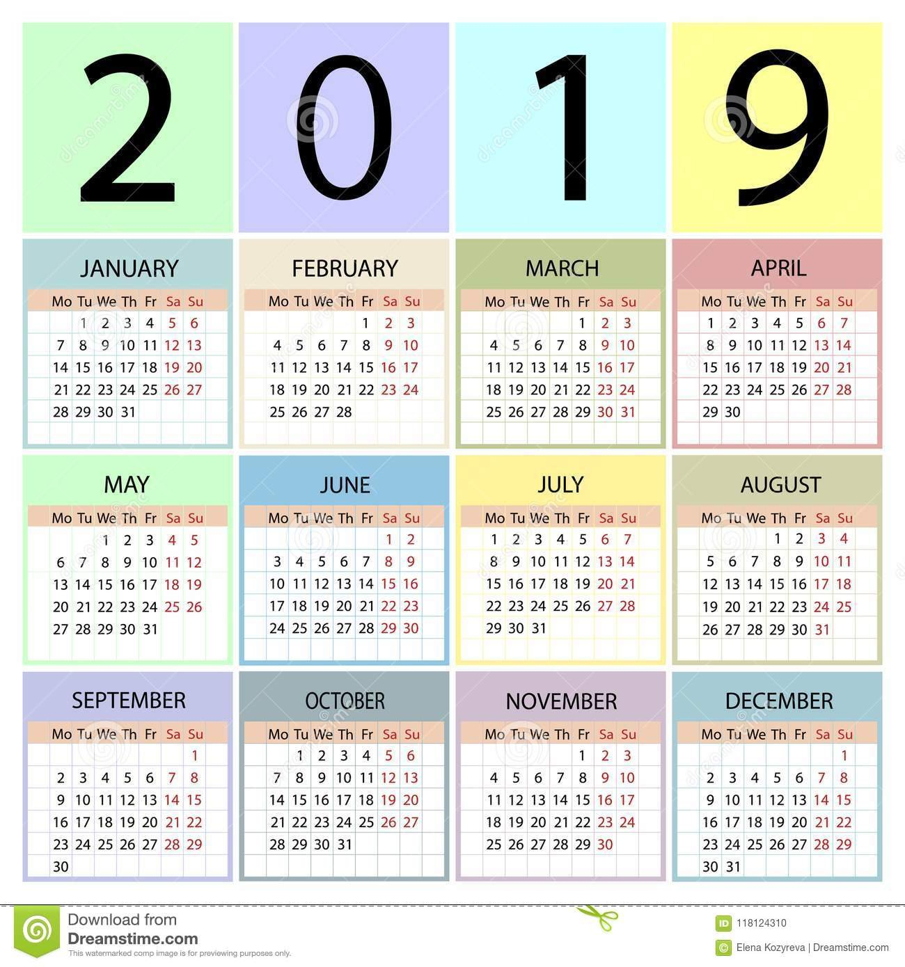 Calendar 2019 Year. Week Starts With Monday. Stock Vector 4 Seasons Calendar 2019