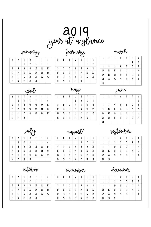 Calendar 2019 Yearly Printable 2019 Printable Calendar | Get Free Calendar 2019 Printable