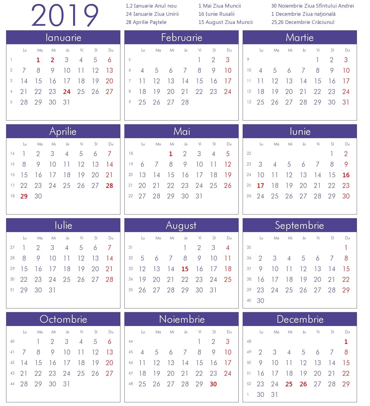 Calendar 2019 Zile Libere Excel • Quarterly Calendar Template Calendar 2019 Excel Romania