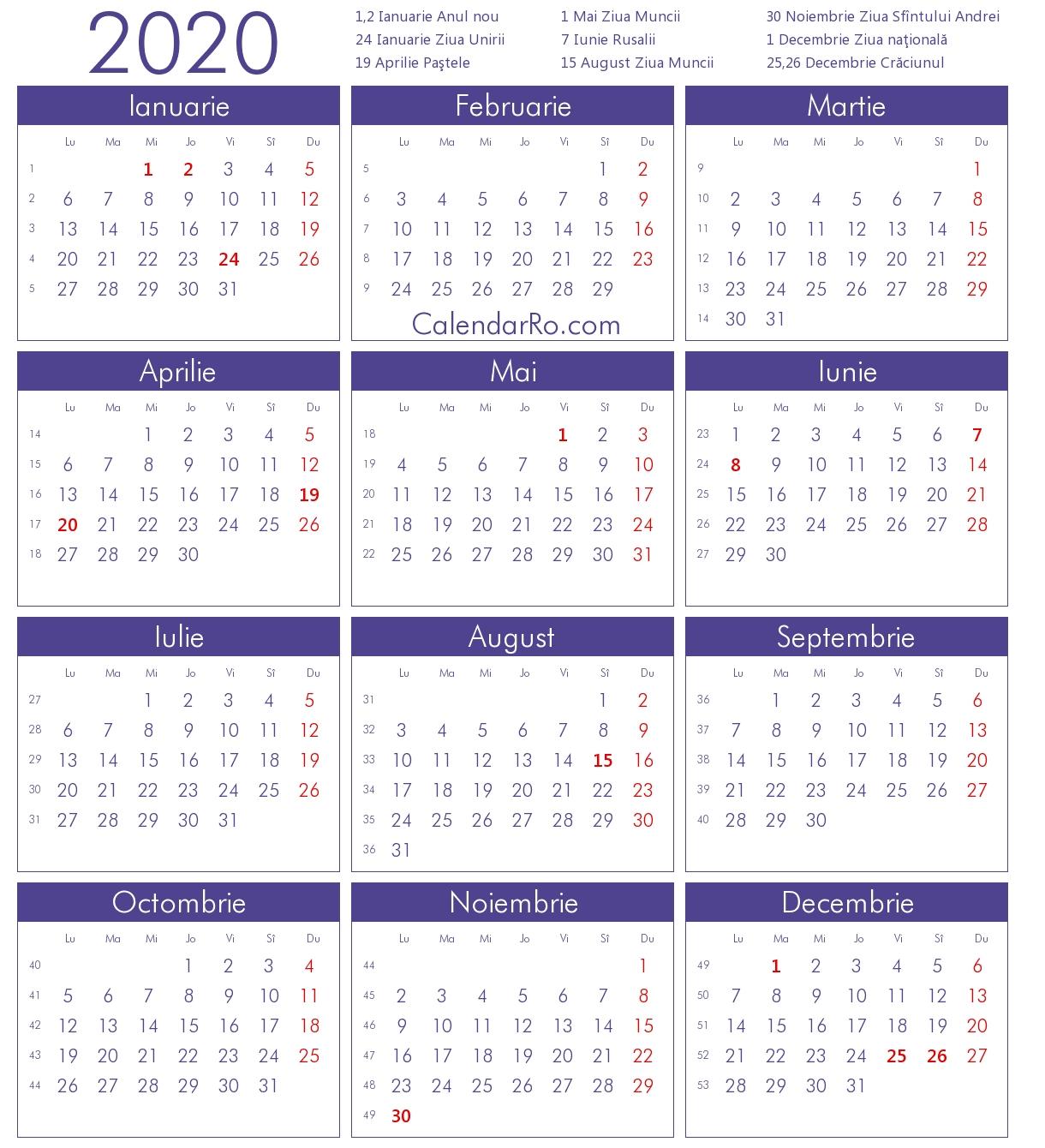 Calendar 2020 Calendar 2020 Romana – Get Your Calendar Printable Calendar 2019 Romana