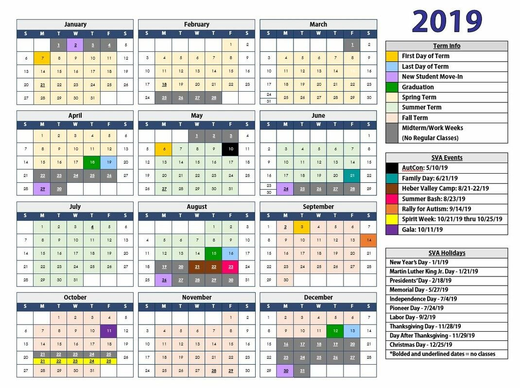 Calendar & Announcements - Scenicview Academy D&d Calendar 2019